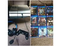 Ps4 with 9 games, headset and controller