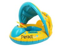 Brand new Baby Swimming Float with Inflatable Sunshade Canopy Swimming Pool Boat