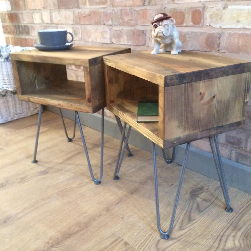 Rustic Industrial Reclaimed Wood Style Vintage Side Table