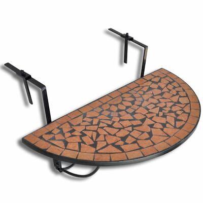 vidaXL Mesa Colgante de Balcón Mosaico Semicircular Terracota Mesita Terraza
