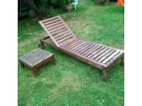 wooden garden lounger and side table can deliver