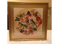 Colourful hand embroidery framed picture of two birds & Blossoms on a Branch