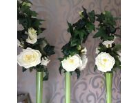 Wedding table centre pieces. Set of 7 vases in total only flowers for 3 vases!