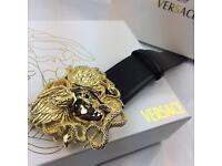 Men's large statement gold buckle fashion designer men's black leather belt versace boxed gift bag