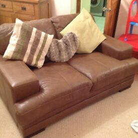Corner settee with 2 seater brown leather DFS