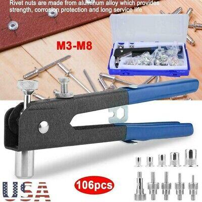 M3-M8 106 pcs Hand Nut Rivet Riveter Rivnut Nutsert + Threaded Nut Rive Kit