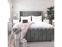 DOUBLE SIZE PLUSH VELVET ROYAL WING BED FRAME