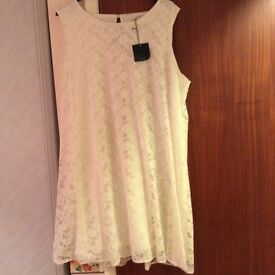 Asos Curve Cream Lace Sleeveles Swing Dress