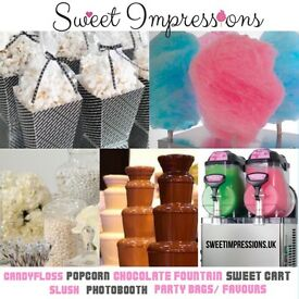 Candyfloss, Popcorn Machine Hire,Chocolate Fountain, candy floss, photo booth, slush, Sweet pic mix