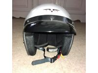 New V-CAN V500 Silver Open Face Motorcycle Crash Helmet – Size XS