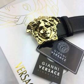 Gold shiny polished palazzo soft black leather mens belt versace boxed amazing