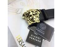 Gold shiny polished palazzo soft black leather mens belt versace boxed amazing