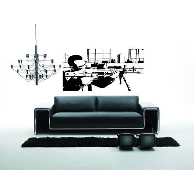 Computer Game Player with weapons Wall Art Sticker Decal