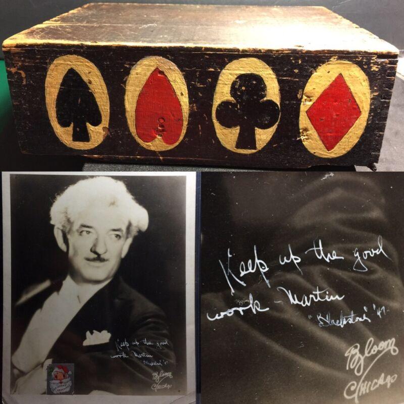 Antique Magician Dovetail Secret Artisan Playing Cards Box Blackstone Autograph