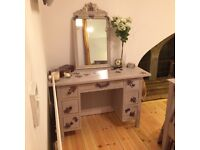 Vintage Hand Painted Chest of Drawers with Matching Mirror