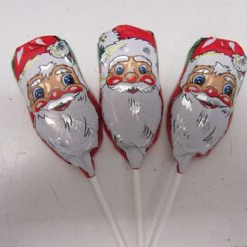 60 x santa father christmas foiled chocolate lollipops party favours