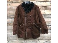 brown Sheepskin jacket car coat winter classic funky vintage
