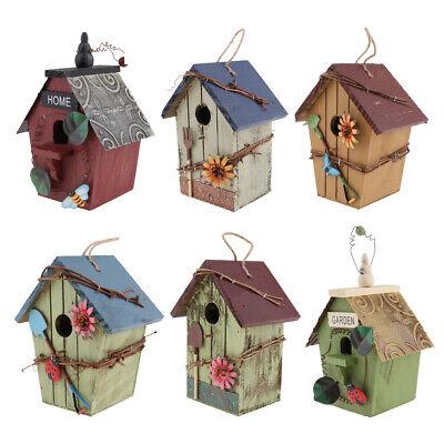 Hanging Decorative Birdhouse - RUSTIC COUNTRY WOODEN DECORATIVE BIRD HOUSE, HANGING BIRDHOUSE GARDEN DECOR