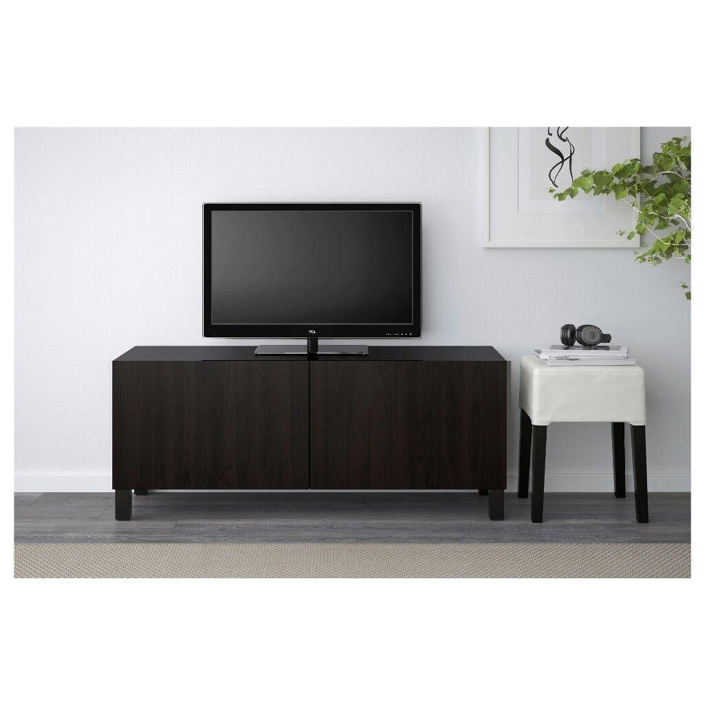 new* besta lappviken black/brown cabinet / sideboard / tv shelf unit