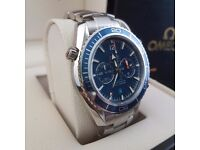 New Omega SeaMaster blue face blue bezel with all silver bracelet complete in Omega box bag & papers