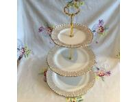 VINTAGE CAKE STAND ~ LARGE 3 TIER GOLD AND WHITE BONE CHINA ~ LOVELY FOR CHRISTMAS