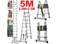 5M Multi Purpose Aluminum Telescopic Folding Ladder Extendable A Shape Step Uk