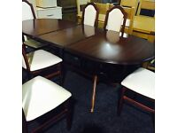 AS NEW extendable TABLE AND SIX CHAIRS