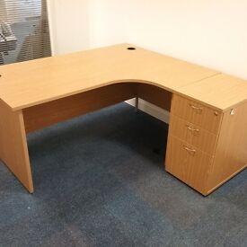 Light oak right hand curved desk with matching pedestal