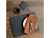 8x Grey Handcut Slate Placemat & Coasters