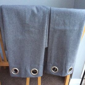 Grey Curtains and Rail £10