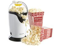Andrew James Hot Air Popcorn Maker Machine in white with blue lid