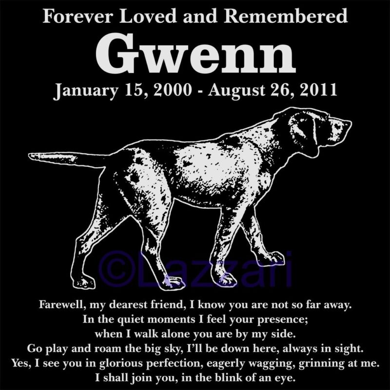Personalized Pointer Pet Dog Memorial 12x12 Custom Engraved Granite Grave Marker