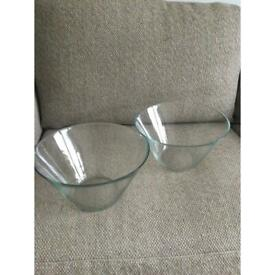 Pair of matching large glass serving bowls