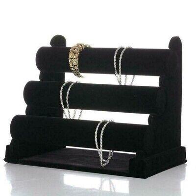 Jewelry Watch Bracelet Holder Display Stand 3-Bar Organizer Black Velvet