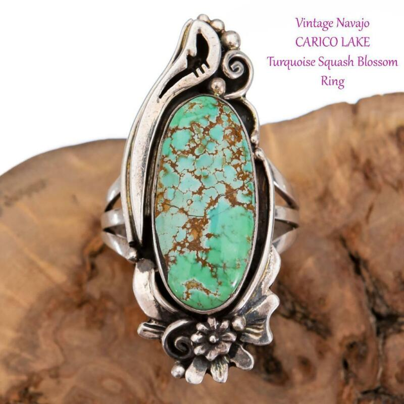 Native American Turquoise RING CARICO LAKE Sterling Silver Vintage sz 7.5 Old