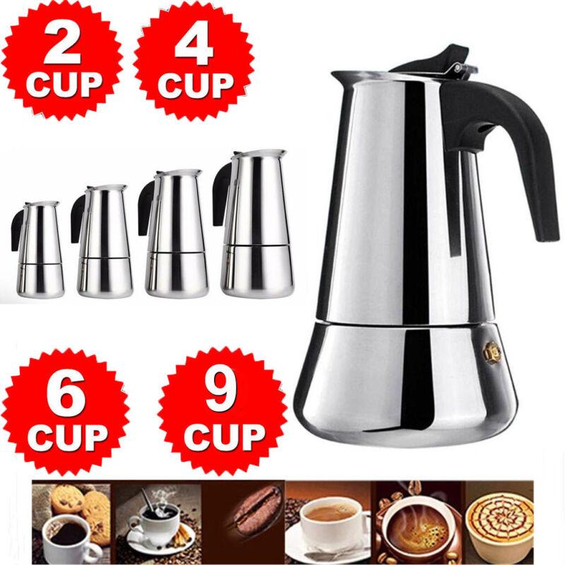 2/4/6/9-Cup Coffee Maker Moka Percolator Stove Top Espresso