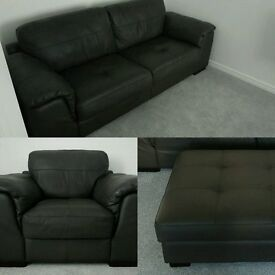 Leather sofa suite - 3 & 1 seater & footstool - HIGH QUALITY - GOOD AS BUYING NEW