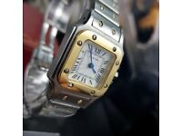 Ladies Cartier Santos Available in ladies 31mm ladies 36mm an men's 44mm Comes Boxed with Paperwork