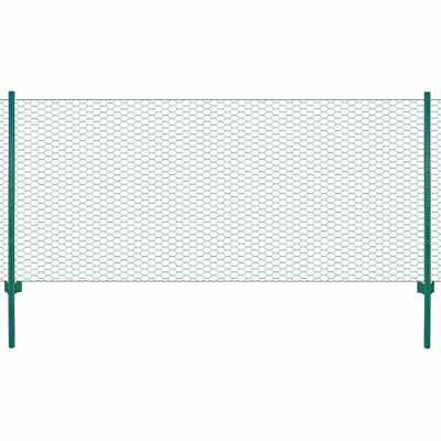 vidaXL Wire Mesh Fence with Posts Steel 25x0.75m Green Outdoor Field Enclosure