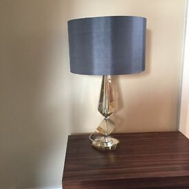Bespoke table lamp- Glass base design with grey lampshade