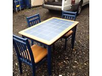 table and 3 chairs only £22 free deliver nice tile top blue
