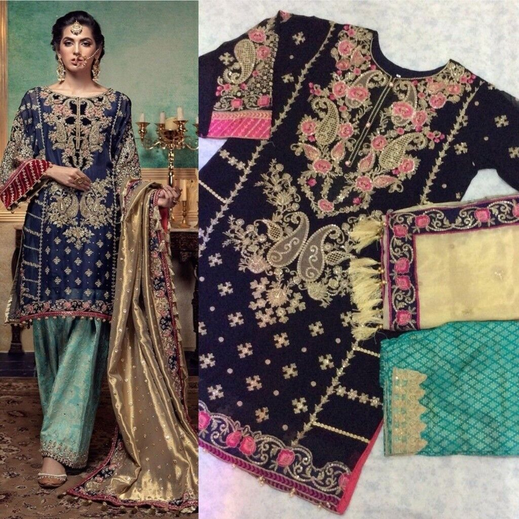 aa35adc9a9 Pakistani Designer Embroidered Chiffon Blue Green Salwar Kameez Suit Eid  Party