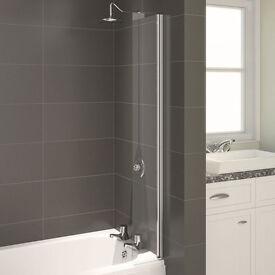 Aqualux AQUA 4 Splash Guard Bath Screen, 200mm Wide 1400mm High, Silver Frame, Clear Glass NEW