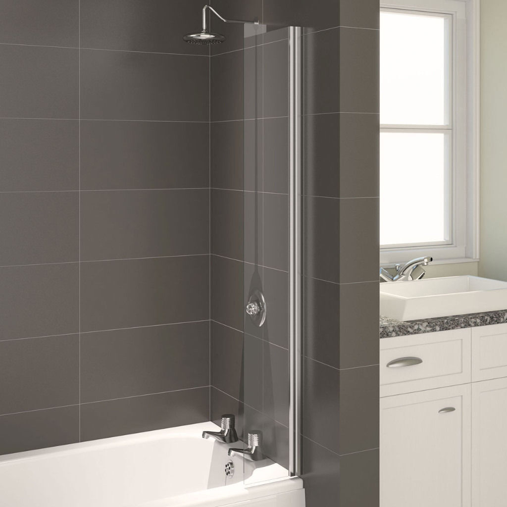 Aqualux AQUA 4 Splash Guard Bath Screen, 200mm Wide 1400mm