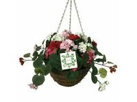 Nearly Natural Geranium Hanging Basket garden and patio