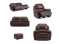 Immaculate New Brown Leather Reclining Sofa, Two Chairs & Footstool