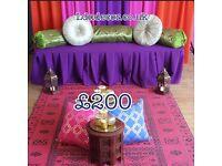 Mehndi decorations London, Jaggo Hire, Meendi mattresses