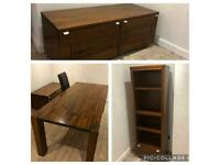 Dinning room set - table with 6 chairs, side unit & book shelf