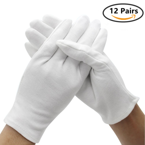 12 Pairs White Cotton Soft Gloves , Jewelry Inspection Stret