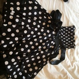 Black and white spotted dress. Boob tube. Size M